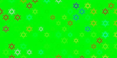 padrão de vetor verde escuro com elementos de coronavírus.