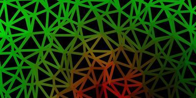 cenário de mosaico de triângulo de vetor verde e vermelho claro.