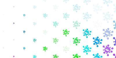 padrão de luz multicolorido com elementos de coronavírus