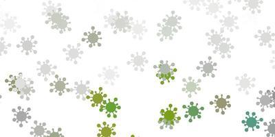 pano de fundo vector cinza claro com símbolos de vírus.