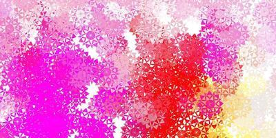 fundo de flocos de neve bonito de vetor rosa claro com flores.