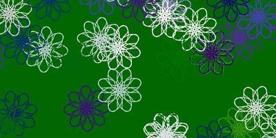 textura de doodle de vetor de azul e verde claro com flores.