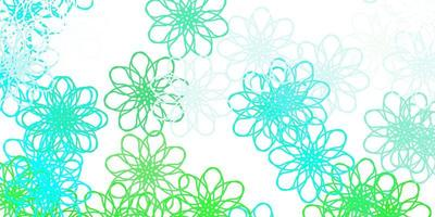 textura de doodle de vetor verde claro com flores.