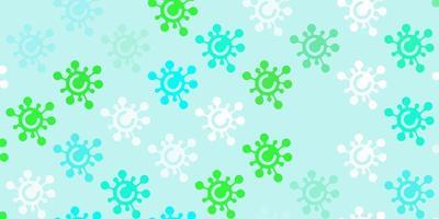 padrão de vetor verde claro com elementos de coronavírus.
