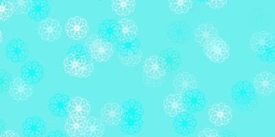 fundo do doodle do vetor verde claro com flores.