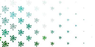 padrão de vetor verde claro com elementos de coronavírus