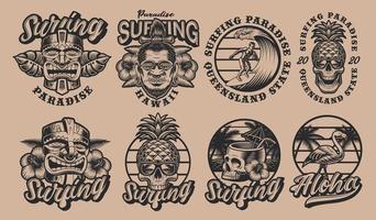 conjunto de ilustrações de surf havaí em preto e branco vetor