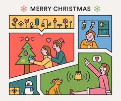 quebra-cabeça de feliz natal vetor