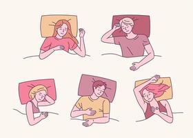 várias poses para dormir vetor