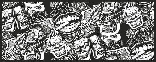 padrão uniforme no tema tatuagem com caveiras e máscaras de palhaço vetor