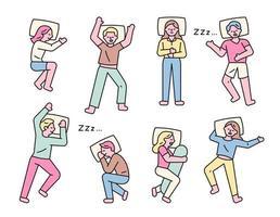 dormir pose personagens vetor