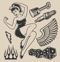 ilustração de garota pin-up com elementos de design vetor