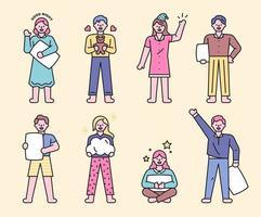 coleções de personagens de pijama vetor