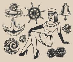 conjunto com garota pin-up e elementos de design vetor