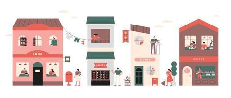 vila e vizinhos vetor
