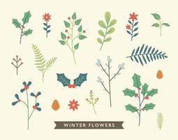 folhas de enfeite de cartão de natal vetor