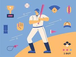 personagem de jogador de beisebol e conjunto de ícones de suprimentos.