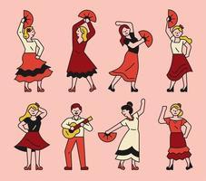 conjunto de personagens de dançarina de flamenco espanha vetor