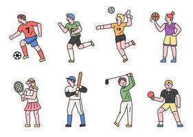 conjunto de caracteres do jogador de esportes.
