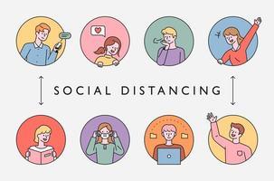 distanciamento social na era da pandemia. vetor