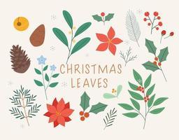 folhas de decoração de cartão de Natal. vetor