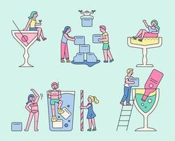 bebidas de verão e personagens fofinhos. vetor