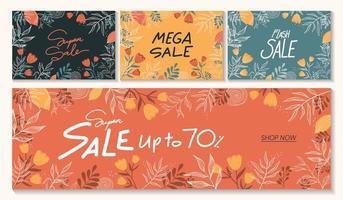 modelo de banner de venda horizontal em várias cores diferentes