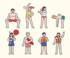 um personagem que lhe diz regras de segurança antes de nadar na praia. vetor