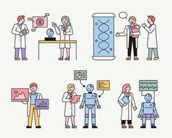 cientistas estudando robôs.