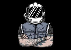 homem em ilustração vetorial de capacete de astronauta vetor