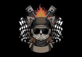ilustração vetorial gato capacete motocicleta vetor