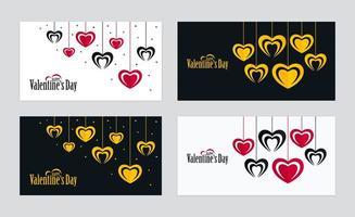 cartões horizontais ornamentados de dia dos namorados com formas de coração penduradas vetor