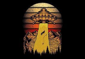ilustração vetorial retro ufo pegando pescador vetor