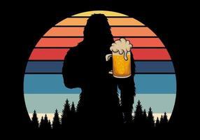 silhueta bigfoot segurando cerveja ilustração vetorial retrô vetor