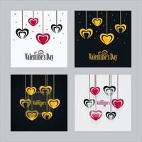 Conjunto de cartões de dia dos namorados com formas de coração e vidro transparente vetor