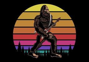 bigfoot tocando guitarra perto de ilustração vetorial retrô ao pôr do sol vetor