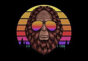 bigfoot head com óculos de sol ilustração em vetor retro pôr do sol