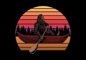 bigfoot em canoa perto de ilustração em vetor retro ao pôr do sol