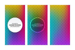 conjunto de banners de gradiente de arco-íris com texturas de favo de mel vetor