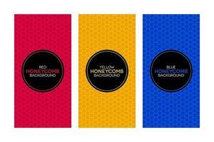 banners coloridos com texturas de favo de mel vetor