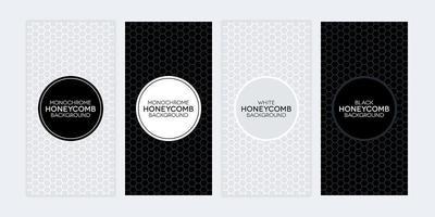 conjunto de banners em preto e branco com texturas de favo de mel vetor
