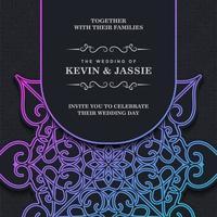 modelo de mandala de convite de casamento gradiente vetor