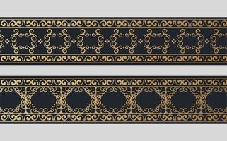 conjunto de design de borda ornamental dourada vetor