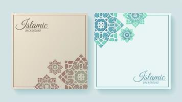 Fundo decorativo de estilo islâmico com conjunto de mandala vetor