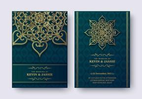 Conjunto de convite de casamento de luxo estilo mandala vetor