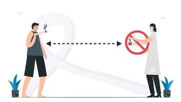 mulher mantém distância da pessoa que fuma. conhecimento sobre o mês de conscientização do câncer de pulmão, novembro. ilustração em vetor plana isolada no fundo branco.