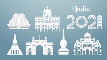conjuntos dos principais marcos famosos do país da Índia para viagens e passeios. vetor