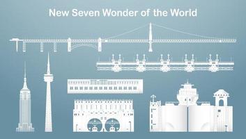 conjuntos de sete novos famosos marcos e edifícios do mundo. vetor