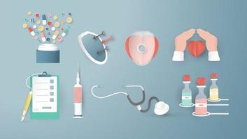 elementos de decoração para seguros de saúde. artesanato de arte em estilo de corte de papel 3d. vetor