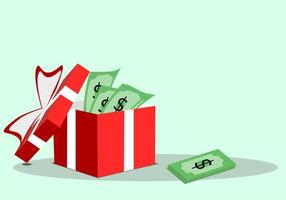 dinheiro em uma caixa de presente vermelha